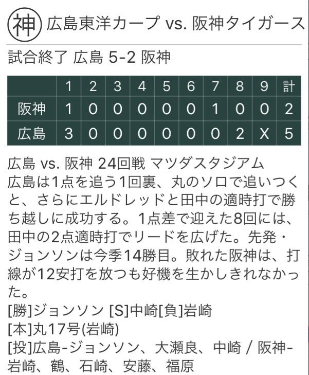 阪神に連勝、ジョンソン14勝おめでとう